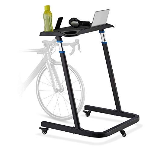 Relaxdays Multifunktionspult höhenverstellbar, Laptoptisch mit Rollen, Stehpult, Fahrradtisch, Höhe: 87-135 cm, schwarz