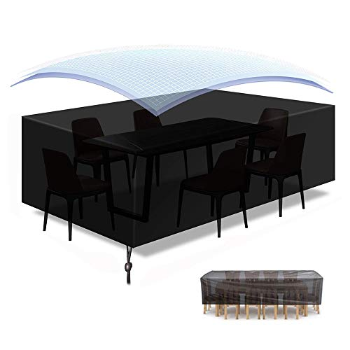 Raword Garden Furniture Covers,Patio Furniture Cover Waterproof, Outdoor Table Covers 600D Heavy Duty Oxford Fabric Rattan Furniture Cover with Windproof Drawstring (Black) (170 * 94 * 70cm)