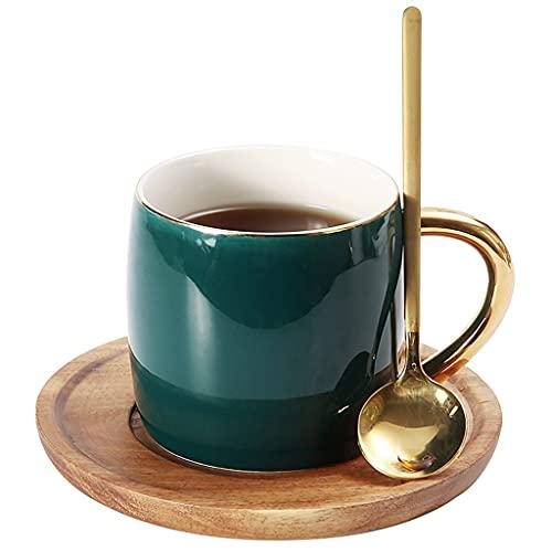Latte Art Cup - Taza de café y platillos de cerámica de lujo simple de 7 oz/200 ml, tazas de té de la tarde de leche europea con cuchara para oficina y hogar, diseño Phnom Penh, cafetera verde