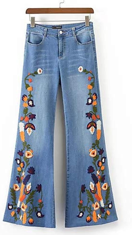 Women's Slim Jeans Pants  Floral Work,bluee,S
