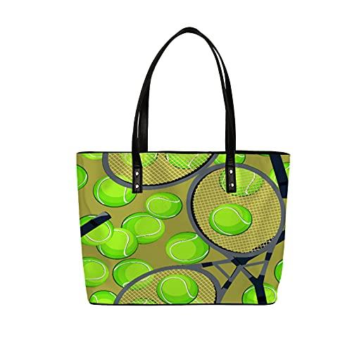 Bolsa de cuero para mujer, raqueta de tenis impermeable, bolsa de hombro de gran capacidad, bolso de piel sintética, bolso grande para trabajo escolar, regalo de compras