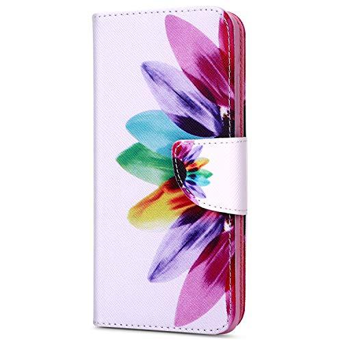 EUWLY Kompatibel mit Huawei Y7 2018 Lederhülle Flip Hülle Leder Klapphülle Ledertasche Bookstyle Cover Brieftasche Schutzhülle Wallet Hülle Handyhülle Leder Tasche,Sonnenblume