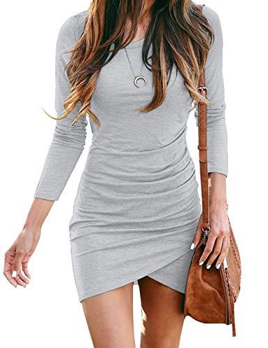 KIRUNDO 2020 Women's Crew Neck Dress Casual Wrap Ruched Stretchy Irregular Hem Solid Bodycon Mini Dress (Small, Gray)