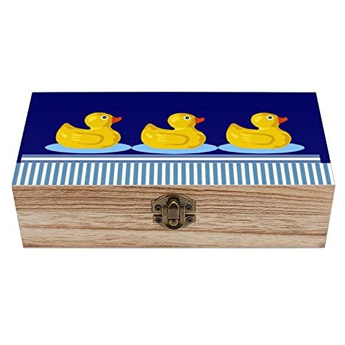 Caja decorativa de madera con diseño de patos de goma vintage, diseño de rayas náuticas y caja de regalo para el hogar, caja de regalo, caja de té de almacenamiento de 19 x 9 x 5.8 cm