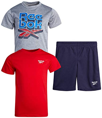Reebok Baby Boys' Shorts Set – 3 Piece Short Sleeve T-Shirt and Shorts Playwear Set (Infant/Toddler), Size 3 Toddler, Light Heather Grey/Red/Black