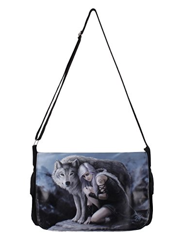 Nemesis Now Protector Anne Stokes Messenger Bag 33cm Grey, PU and Canvas, 40cm