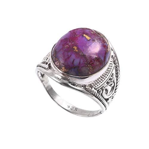 Anillo redondo de piedra turquesa morada | Piedra preciosa lisa | Anillo unisex de plata de ley 925 | Regalo de San Valentín | Talla de anillo 7 US