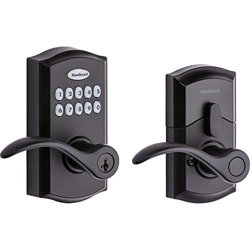 Kwikset SmartCode 955 Keypad Electronic Lever Door Lock Deadbolt Alternative with Pembroke Door Handle Lever Featuring SmartKey Security in Iron Black