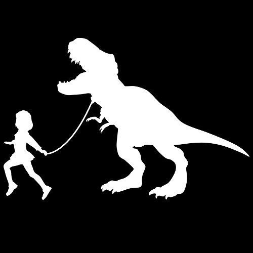 Girl Leading A T-Rex Dinosaur Vinyl Decal Sticker | Cars Trucks Vans SUVs Laptops Walls Windows Cups | White | 7 X 4.6 | KCD2149