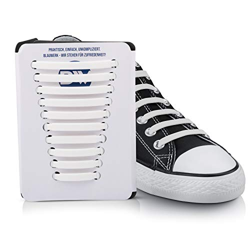 Blauwerk® Silikon Schnürsenkel - elastische Schnürsenkel für Kinder und Erwachsene - Schnürsenkel ohne binden - Gummi Schuhbänder in 13 Farben erhältlich