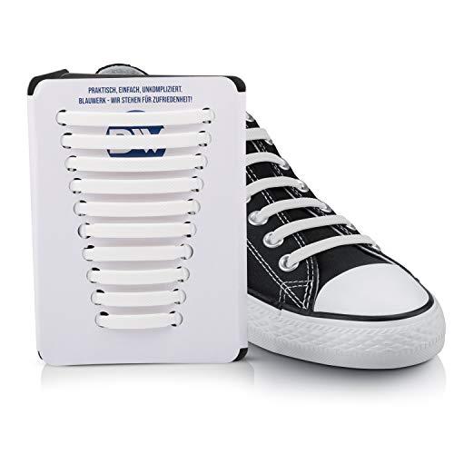 Blauwerk Silikon Schnürsenkel - elastische Schnürsenkel für Kinder und Erwachsene - Schnürsenkel ohne binden - Gummi Schuhbänder in 13 Farben erhältlich (Weiß)
