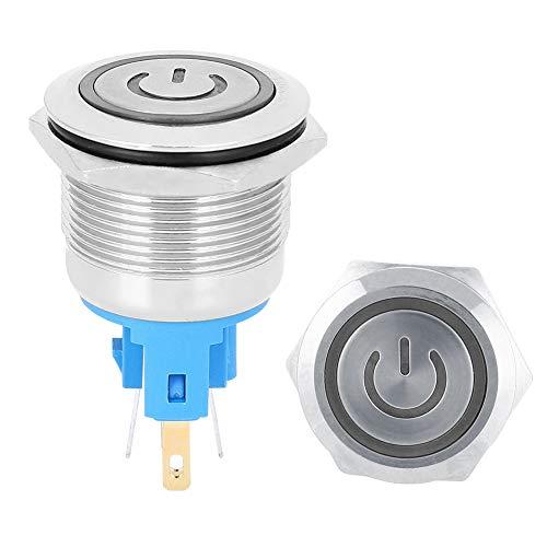2 uds DC12-24V botón de interruptor de ascensor 22mm luz LED de bloqueo automático interruptor de botón pulsador momentáneo de 6 pines con letrero para industrial(white)