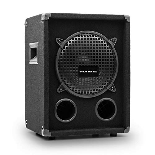 auna Pro PW – subwoofer pasivo de PA, Tweeter, bassreflex, bocina para Tonos Medios, impedancia 8 Ohm, Asas, Funda Protectora, Potencia: 300 W RMS / 600 W MAX., Negro
