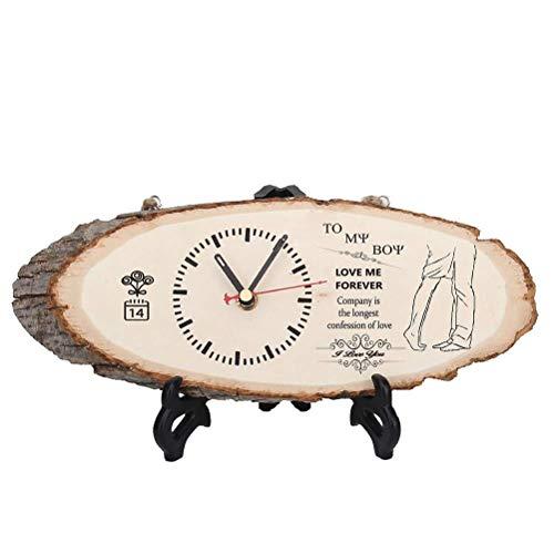SHBV Reloj de Mesa de Madera spier Reloj de Registro de Bricolaje Reloj Colgante silencioso Adornos de Escritorio cumpleaños Navidad año Nuevo Regalo