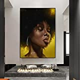 Pinturas de figuras de mujeres negras africanas en lienzo impreso arte de pared póster moderno salón decoración del hogar pintura de imagen / 60x80cm sin marco