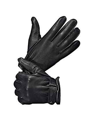 """YISEVEN Men's Deerskin Leather Gloves with Classical Belt Button Real Natural Hand Warm Fur Wool Lined Heated Lining Winter Dress Driving Motorcycle Work Luxury Xmas Gift, Black 8.5""""/Small"""