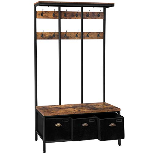 HOOBRO Coat Rack Shoe Bench, Large Hall Tree with 3 Storage Boxes, Top Storage Shelf and 12 Hooks, Industrial Entryway Bench, 4-in-1 Design, in Hallway, Living Room, Metal Frame, BF33MT01