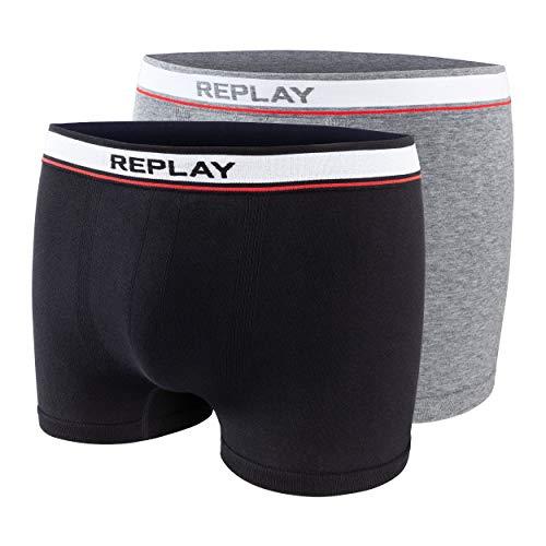 Boxershorts heren 2-delige set Replay grijs en zwart katoen Underwear nauwsluitend