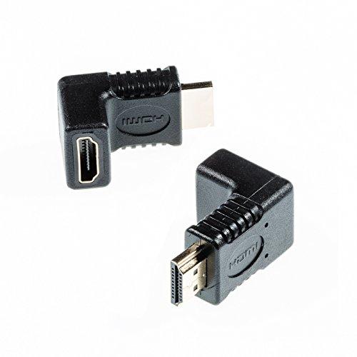 Poppstar 2X HDMI Winkelstecker 90 Grad (TV Winkeladapter Eck, Stecker auf Buchse, 4k UHD 2160p), Winkel Adapter für Verlängerung Kupplung Kabel, vergoldete Kontakte