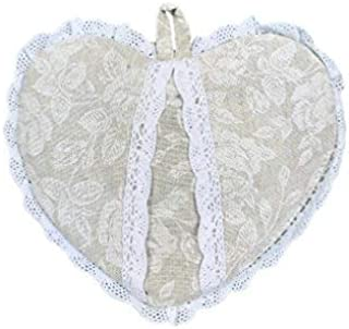 Provence Cotton Heart Shaped Potholder in French Country Style with Cotton Lace, 8'' x 8'', White Rose