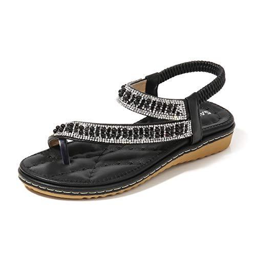 Damen Sommer Flache Sandalen mit Perlen Strass Zehentrenner Bohemia Strandschuhe Flip Flops Sandalette für Mädchen