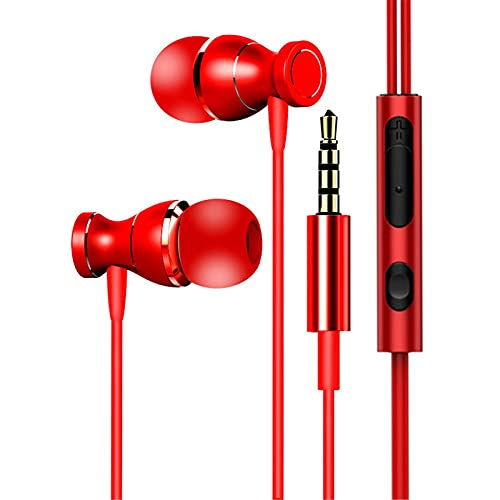 3.5MM In Ear Kopfhörer, Colorful In-Ear Wired HiFi Stereo Ohrhörer Magnetisch Headset mit Mikrofon, 3.5mm Jack Headphones für Xiaomi/Samsung/Huawei usw. (Rot)
