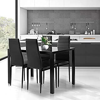 Black Dining Table and Chairs Set- 5 Piece, Tempered...