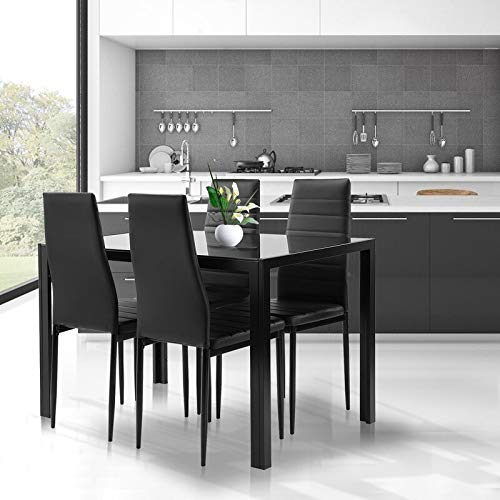 Black Dining Table and Chairs Set- 5 Piece, Tempered Glass Top Table and PU Leather Chairs of 4 for Small Kitchen Dining Room Living Room