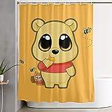 CDMT-XU1 Duschvorhang Winnie The Pooh Cartoon Kunstdruck, Polyester Stoff Badezimmer Dekorationen Sammlung mit Haken 60X72 Zoll
