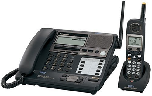 Panasonic KX-TG4500B 5.8 Ghz 4-Line FHSS Expandable Corded/Cordless Phone with Answering System, Black, 1 Handset