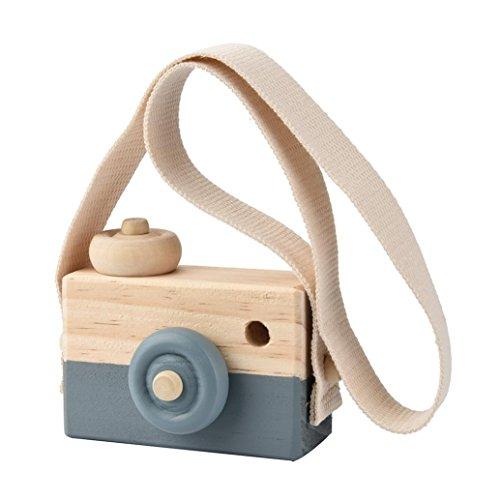 Mamum Spielzeug-Kamera aus Holz und mit Seil, ideal für Kinder zum Aufhängen oder Umhängen um den Hals oder als tolle Deko für Fotoshootings, auch als Geschenk geeignet Einheitsgröße grau
