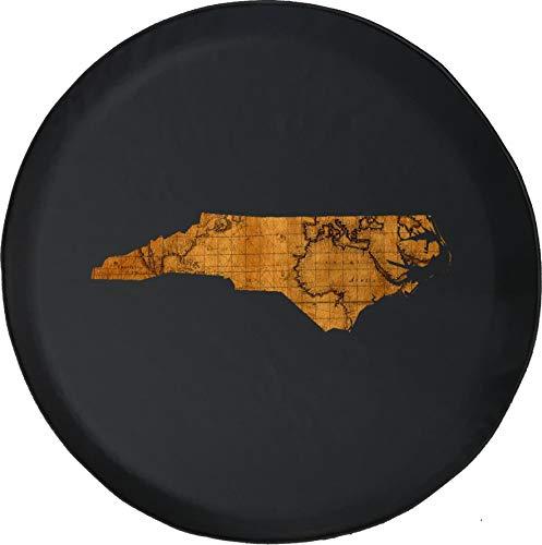 Hokdny Cubiertas De Neumáticos para Rueda De Repuesto Mapa De Viajes del Viejo Mundo De Carolina del Norte A Prueba De Polvo, Impermeable, Protección Solar Y Protección contra La Corrosión.