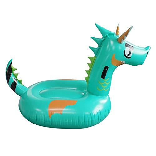 Zcm Schwimmring Riesen Green Dragon Dinosaurier-Pool Float Aufblasbare Luftmatratze Reiter auf Sommer-Wasser-Spiel-Schwimmen-Ring (Color : Green)
