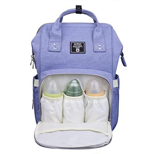 Bolsa de pañales mochila,Bolsa de pañales de viaje multifunción bolsa de bebé grande,Azul-púrpura