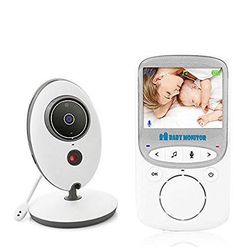 BW Monitor de bebé 2.4 pulgadas color LCD inalámbrico audio digital video seguridad bebé Monitores 2 vías hablar visión nocturna temperatura Monitoreo