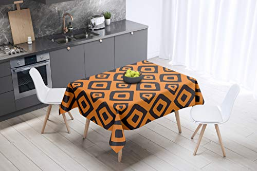 Bonamaison Cuadrados Mantel Impermeable, Multicolor, 140x140 Cm, 1 Unidad