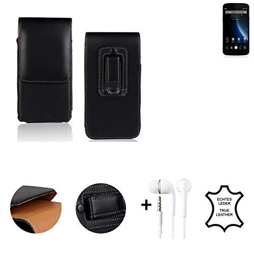 K-S-Trade® Leder Gürtel Tasche + Kopfhörer Für Doogee X6S Seitentasche Belt Pouch Holster Handy-Hülle Gürteltasche Schutz-Hülle Etui Schwarz 1x