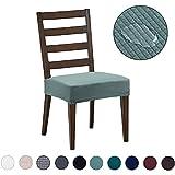 DEZENE Fundas para sillas de Comedor (Paquete de 4): Repelente al Agua, fácil de Instalar, Muy elástica - Silla de Comedor Funda de...