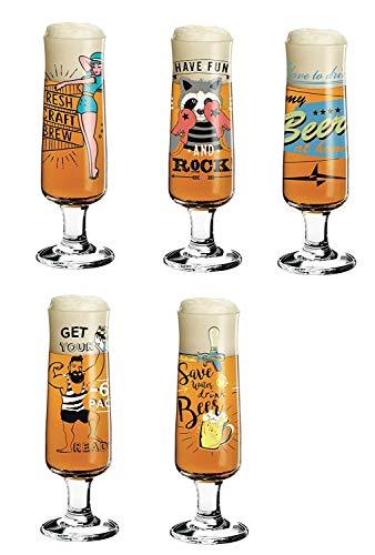 Ritzenhoff Beer Design Bierglas, 5-delige set met elk 5 glasonderzetters | Alice Wilson, Kathrin stok brand, esserdesign, 2 x Dominika Przybylska | Collectie voorjaar 2018
