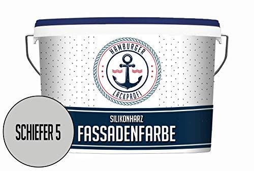 Hanse Silikonharz Fassadenfarbe Schiefer 5 10L matt Außenfarbe Grau Hausfarben Abperleffekt & Atmungsaktiv