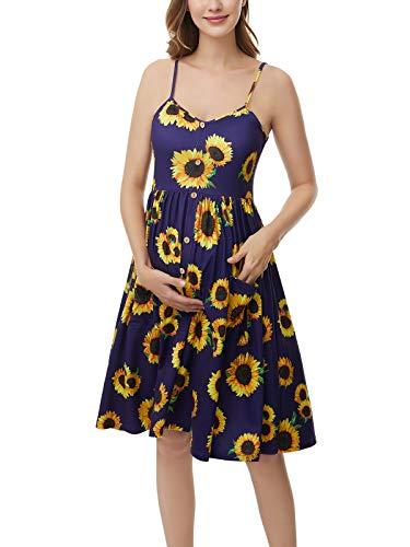 Love2Mi Vestido de maternidad de verano, sin mangas, con botones, bolsillo, Girasol Druken, M