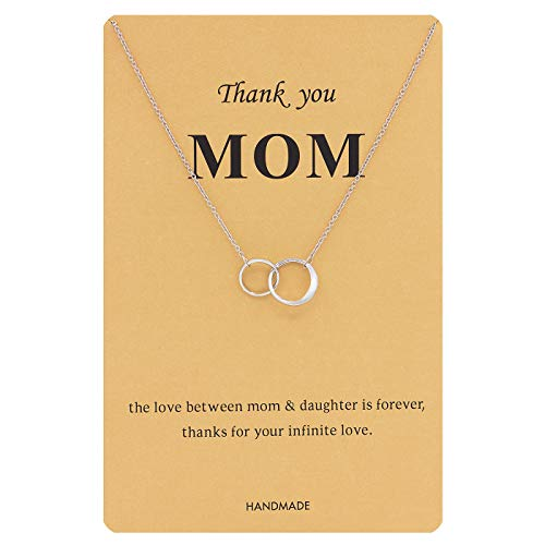 Zealmer Double Circle Ring Necklace Silver Double Links Pendant Mother's Day Thank You Mom Gift...