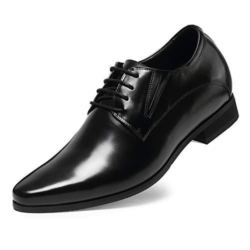 CHAMARIPA Herren Schwarz Leder Oxford Schuhe Schn¨¹rhalbschuhe,8 cm erh?hen - H62D11K011D ¡