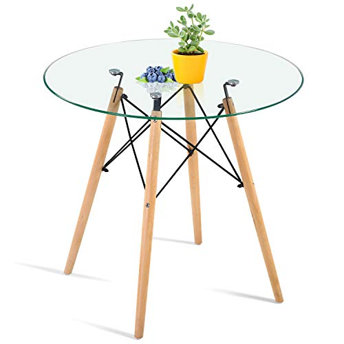 HAYOSNFO Round Dining Table with Glass Top, Glass Dining Table, Modern Leisure Table with Wood Legs,...