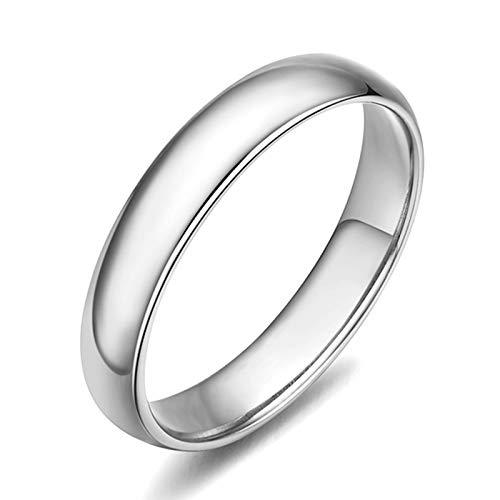 Daesar Damen Ringe 750 Weißgold Poliert Rund Breit 3.55MM Partnerringe Weißgold Hochzeitsring 53 (16.9)