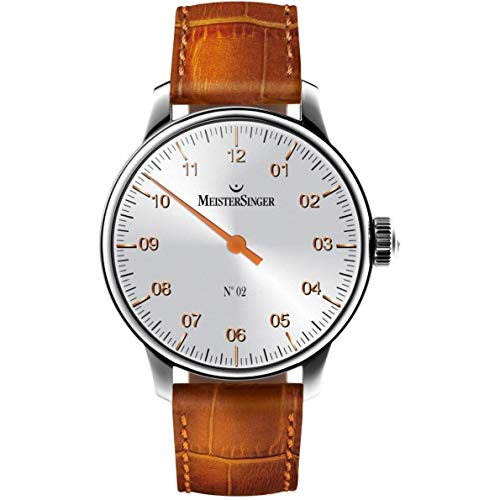 MeisterSinger No 2 Mens Single-Hand Manual Wind Mechanical Watch - 43mm Analog Silver Face Unique Dress Watch with Sapphire Crystal - Brown Leather Band Swiss Made Classic Luxury Watch for Men AM6601G