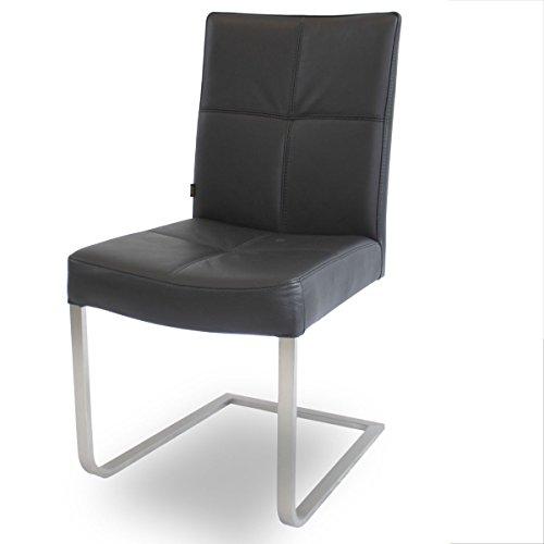 EMAN Möbelvertrieb Freischwinger Lederstuhl Libero Edelstahl Stuhl Leder-Stühle Rindsleder Schwarz