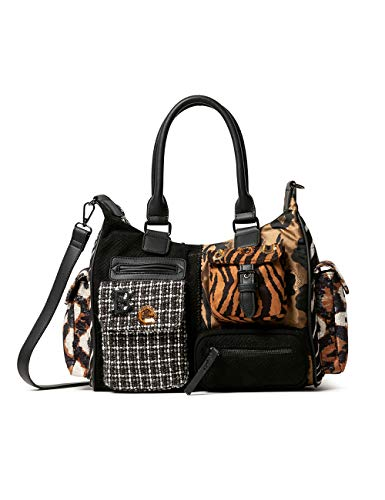 Desigual Accessories Fabric Shoulder Bag, Bolso bandolera. para Mujer, negro, U