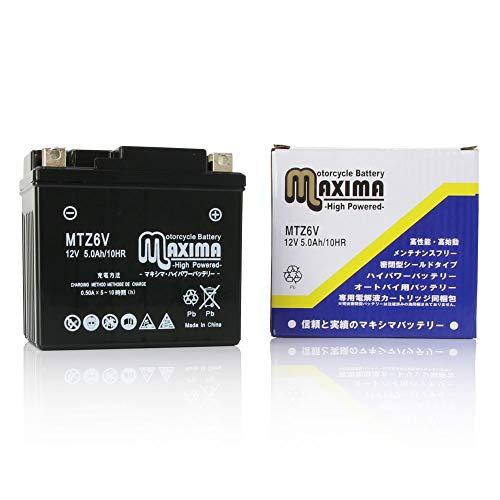 マキシマバッテリー MTZ6V シールド式 ロードサービス付き バイク用 Z6V (互換:YTZ6V/GTZ6V/FTZ6V)