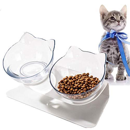 VieVogue Ciotole per Gatti, 15 ° Inclinata Doppio Gatto Ciotola con Supporto Rialzato, Cibo e Acqua Antiscivolo Animali Rimovibile Gatti Cani di Piccola Taglia (Clear+Clear Bowls)